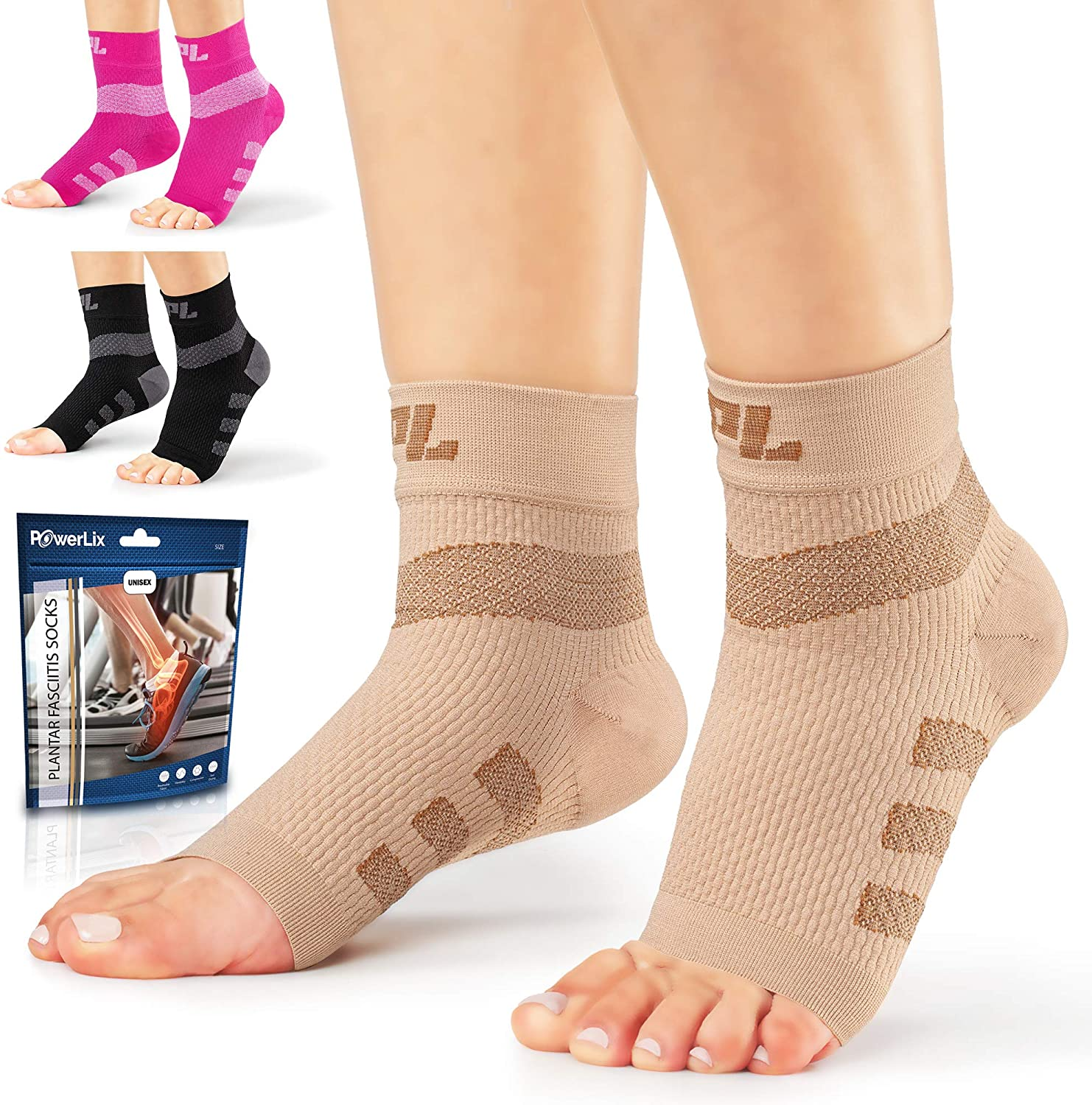 Powerlix Nano Socks for Neuropathy (Pair) for Women & Men, Ankle Brace Support, Plantar fasciitis socks, Toeless Compression Socks & Foot Sleeve for Arch and Heel Pain Relief, Treatment & Everyday Use