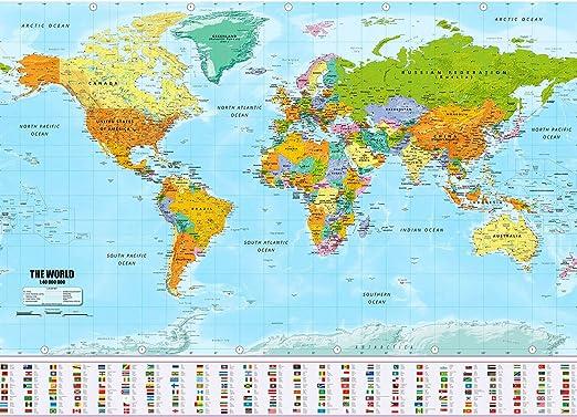 Goods & Gadgets Cartel XXL del mapamundi en tamaño Gigante con ...