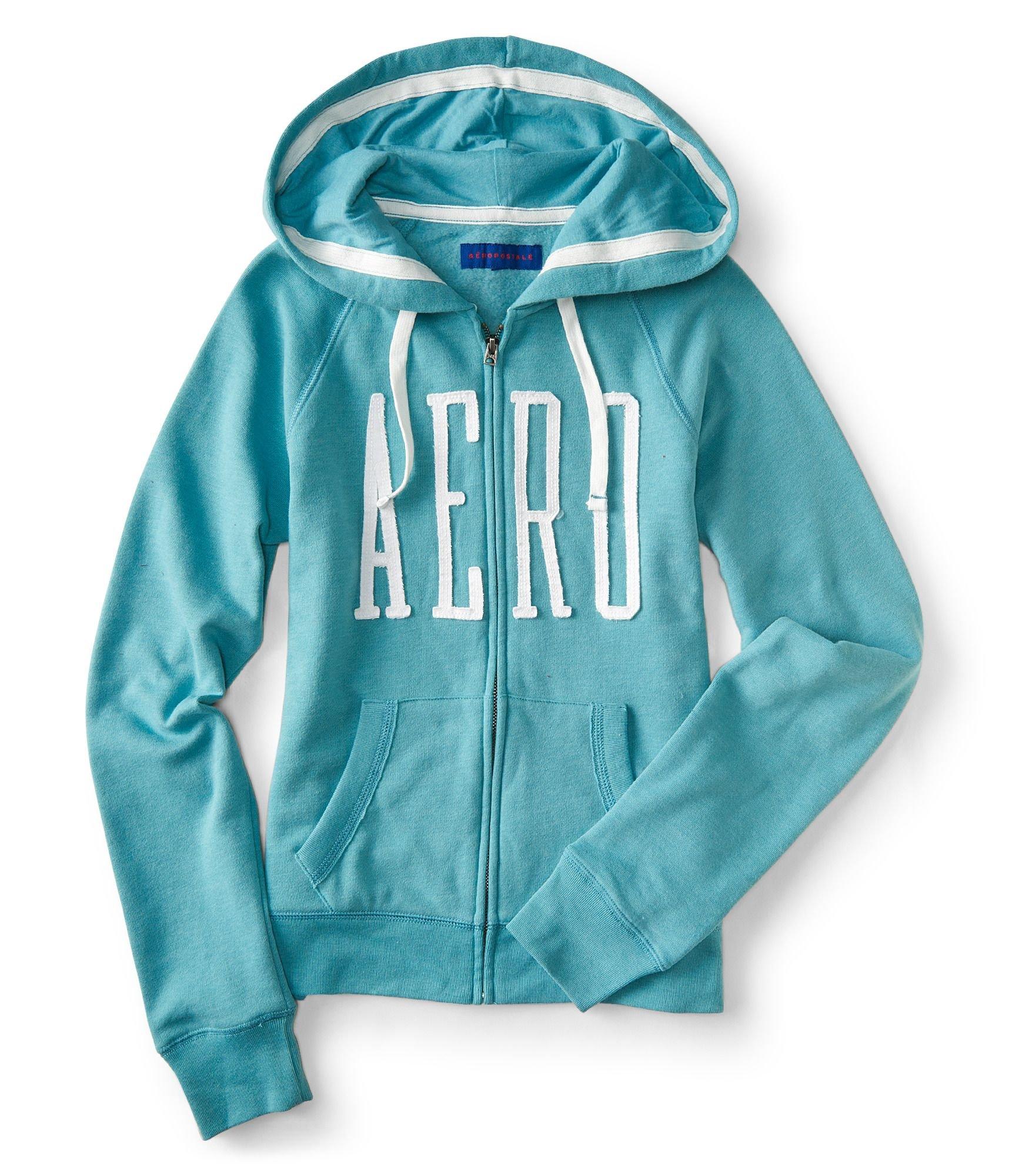 Aeropostale NY Women's Full-Zip Hoodie Sweatshirt (Aqua 1442, XL)
