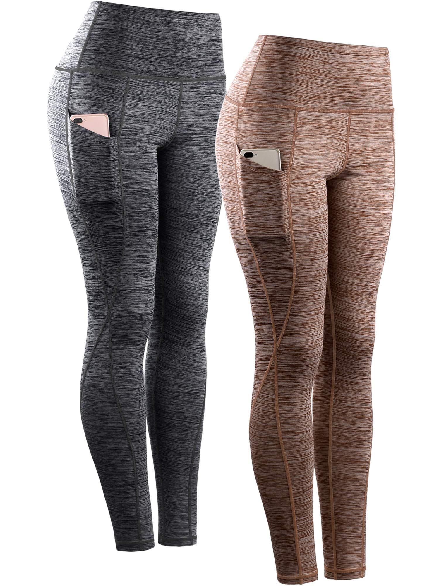 Neleus Women's Yoga Pant Running Workout Leggings with Pocket Tummy Control High Waist,9033,2 Pack,Black,Brown,M,EU L by Neleus