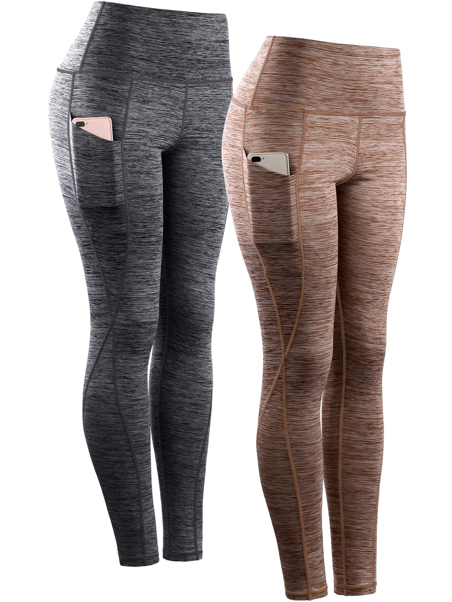 Neleus Tummy Control High Waist Workout Running Leggings for Women,9033,Yoga Pant 2 Pack,Black,Brown,S,EU M