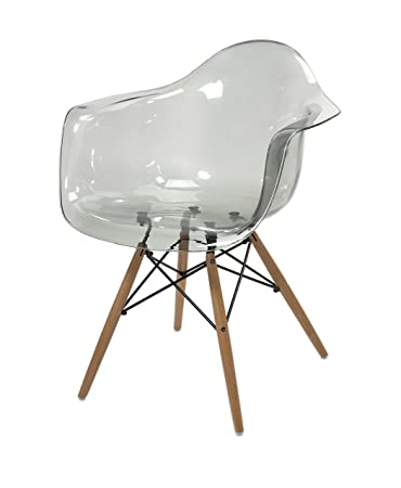 IMAX 89524 Beckett Grey Transparent Chair With Wood Leg