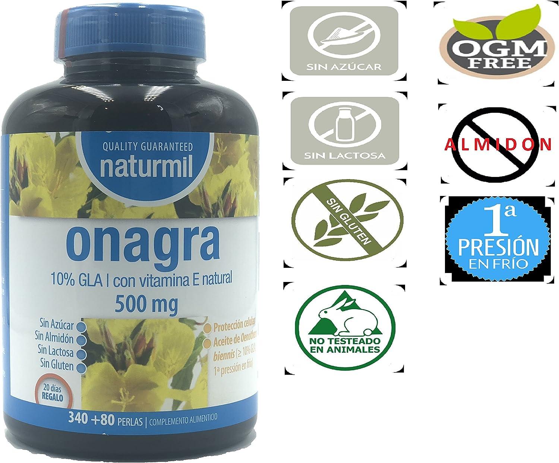 NATURMIL Aceite de Onagra 500 MG, 420 perlas, Con vitamina E ...