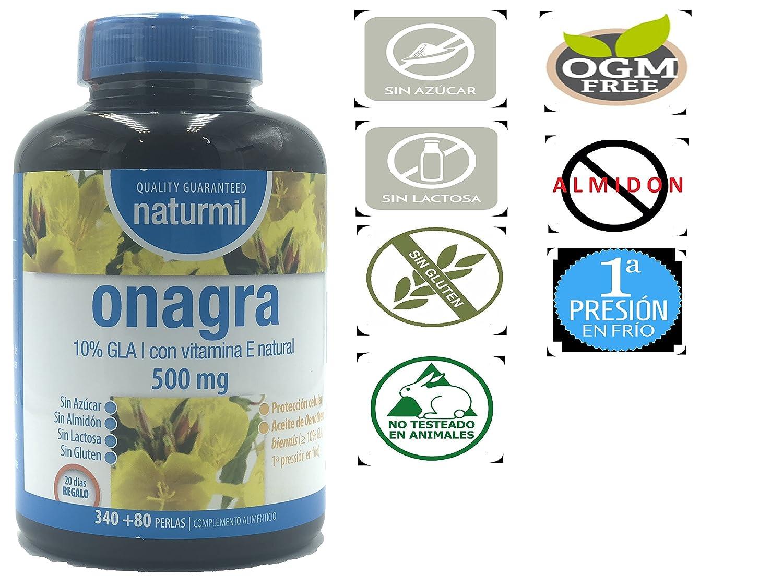 ACEITE DE ONAGRA 500 MG + VITAMINA E, 420 perlas NATURMIL, no GMO,: Amazon.es: Salud y cuidado personal