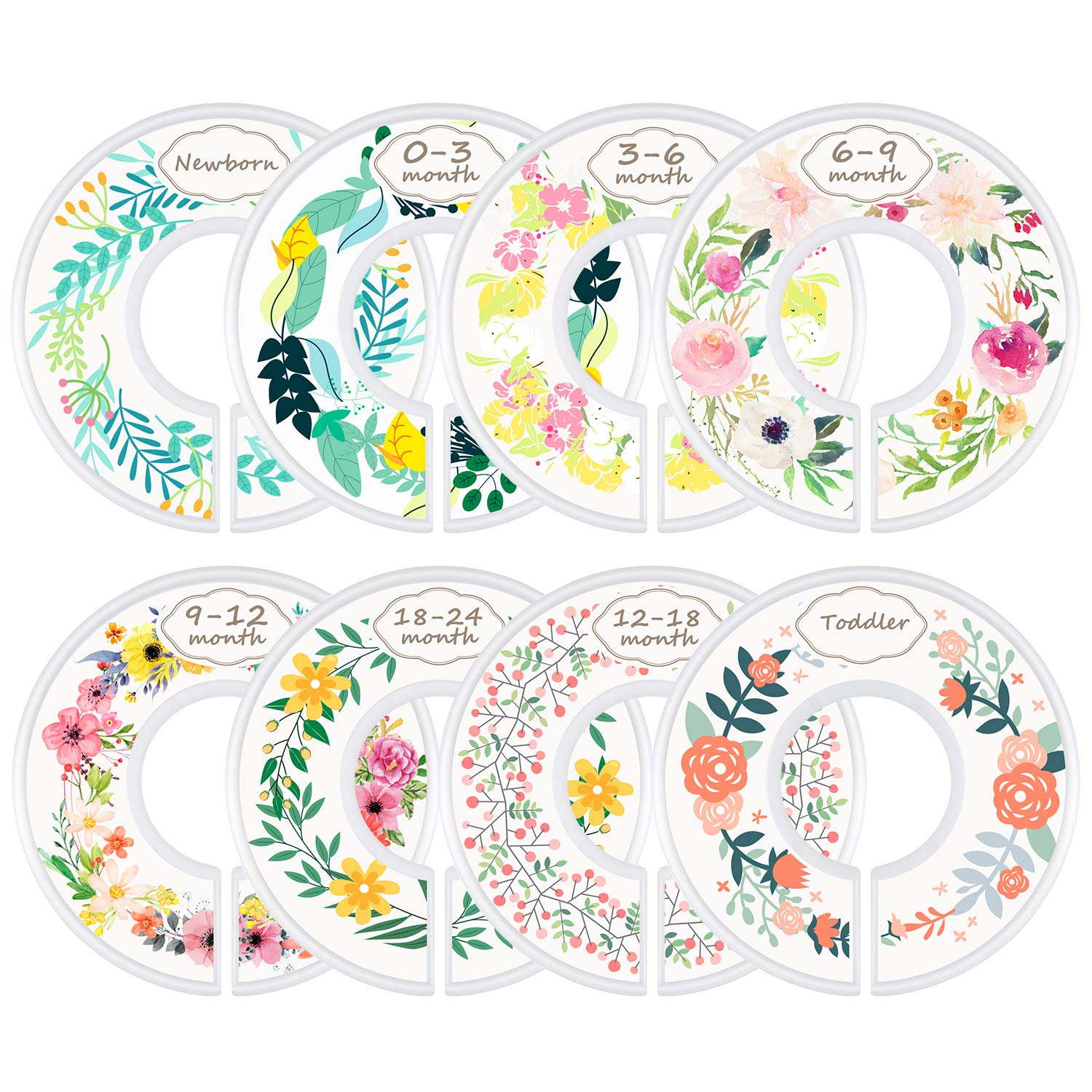 Set of 8 Nursery Baby Closet Clothes Dividers Flower Pattern Baby Nursery Toddler Clothes Size Organizer Dividers Girl Baby Closet Size Dividers