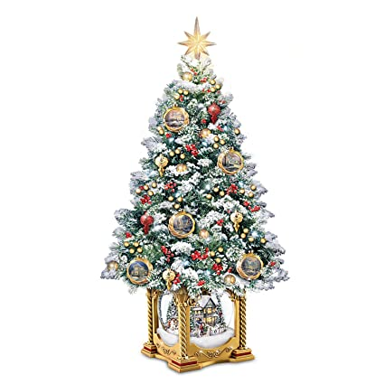 bradford exchange thomas kinkade snowglobe christmas tree with lights and music
