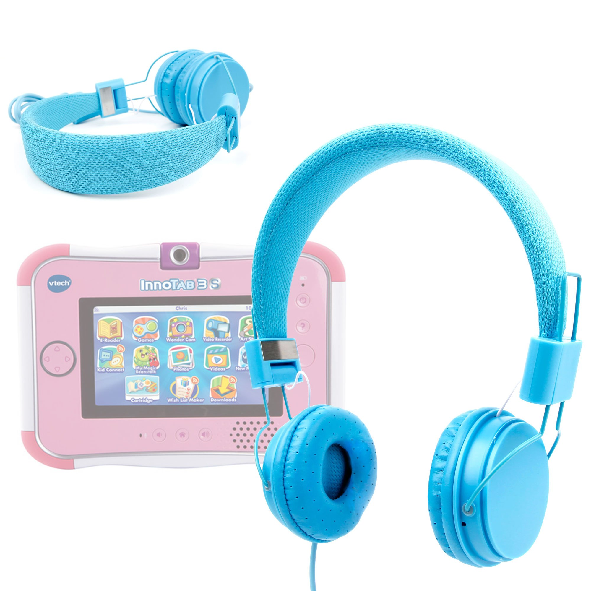 DURAGADGET Blue Ultra-Stylish Kids Fashion Headphones with Padded Design, Button Remote and Microphone Compatible with VTech Innotab 3, VTech Innotab 3S by DURAGADGET (Image #1)
