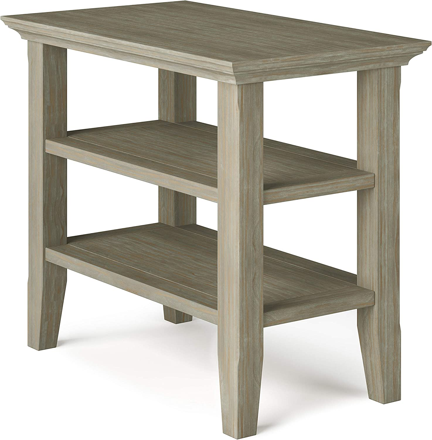 Simpli Home Acadian SOLID WOOD 14 inch Wide Rectangle Rustic Narrow Side Table in Distressed Grey