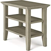 SIMPLIHOME Acadian SOLID WOOD 14 inch Wide Rectangle Rustic Narrow Side Table in Distressed Grey