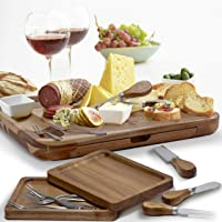 """Exquisite Cheese Board & Utensils Gift Set – Extensive Serving Set –X- Large Acacia Board (15.75""""x13"""") & 6 Cheese Knives…"""