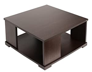 Bluewud Noel CT-No-SQW Coffee Table with Shelves (Wenge)