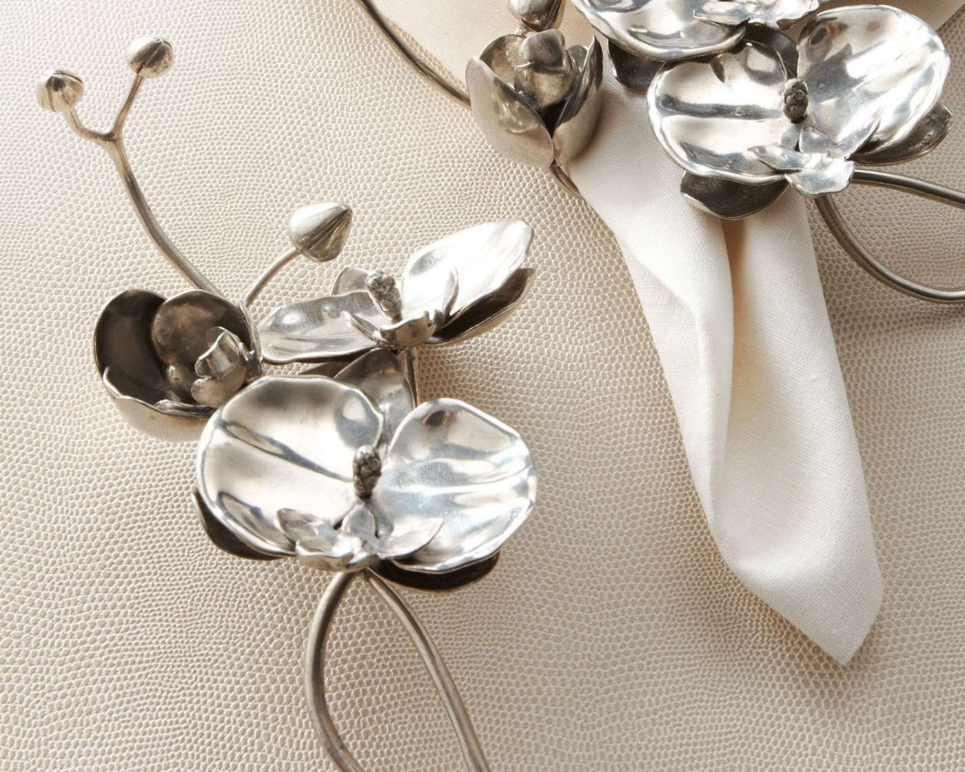 Vagabond House Pewter Orchid Napkin Ring 8'' Long by Vagabond House