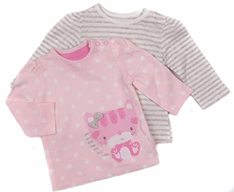 baby girls two pack long sleeve tops pretty kitten theme ex mother