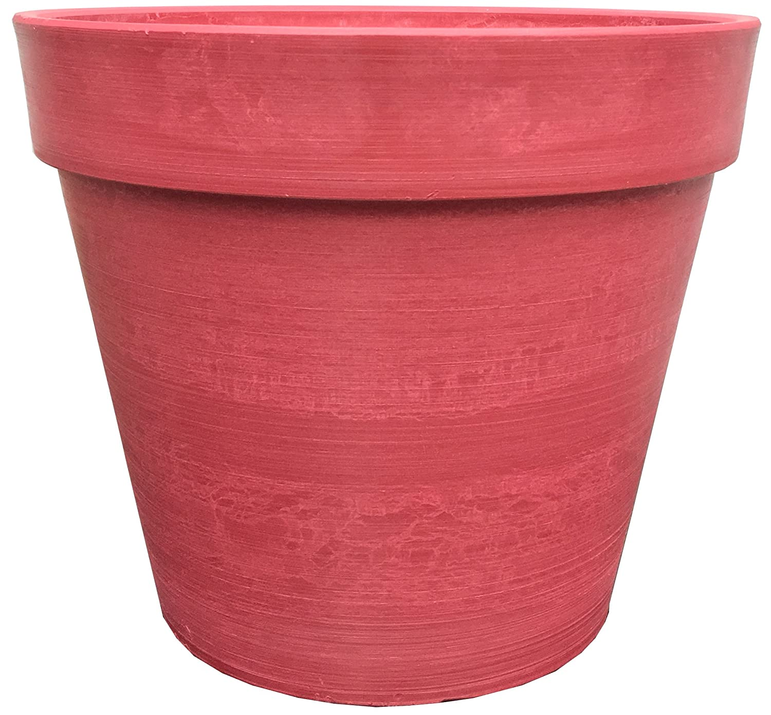 Spigo Contemporary UV-Protected Resin Flower Pot, 14 Inches, Red