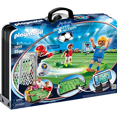 PLAYMOBIL Sports & Action 70244 Take Along Soccer Arena, Includes Smartphone Holder, for Children Aged 5+: Toys & Games
