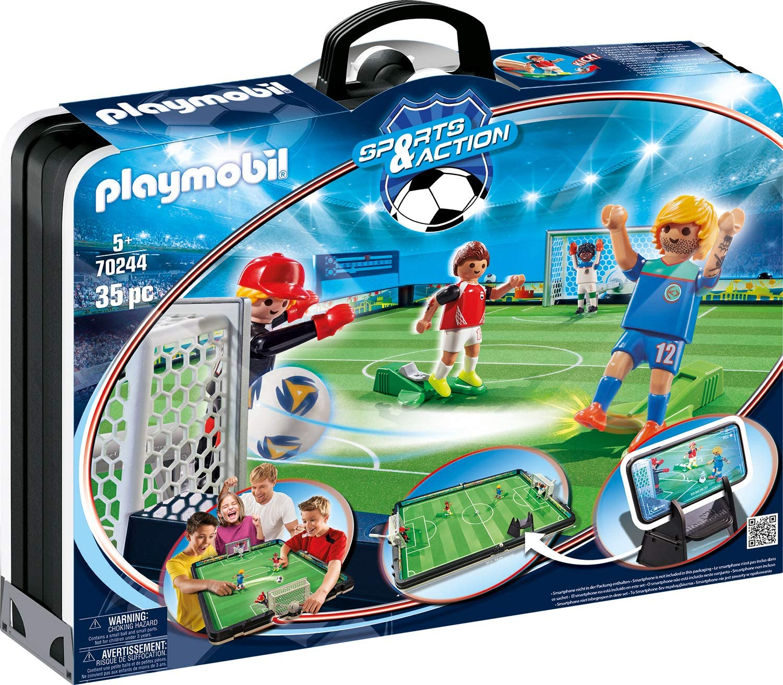 PLAYMOBIL Sports & Action Campo de Fútbol Maletín, con Soporte para Smartphone, a Partir de 5 Años (70244)