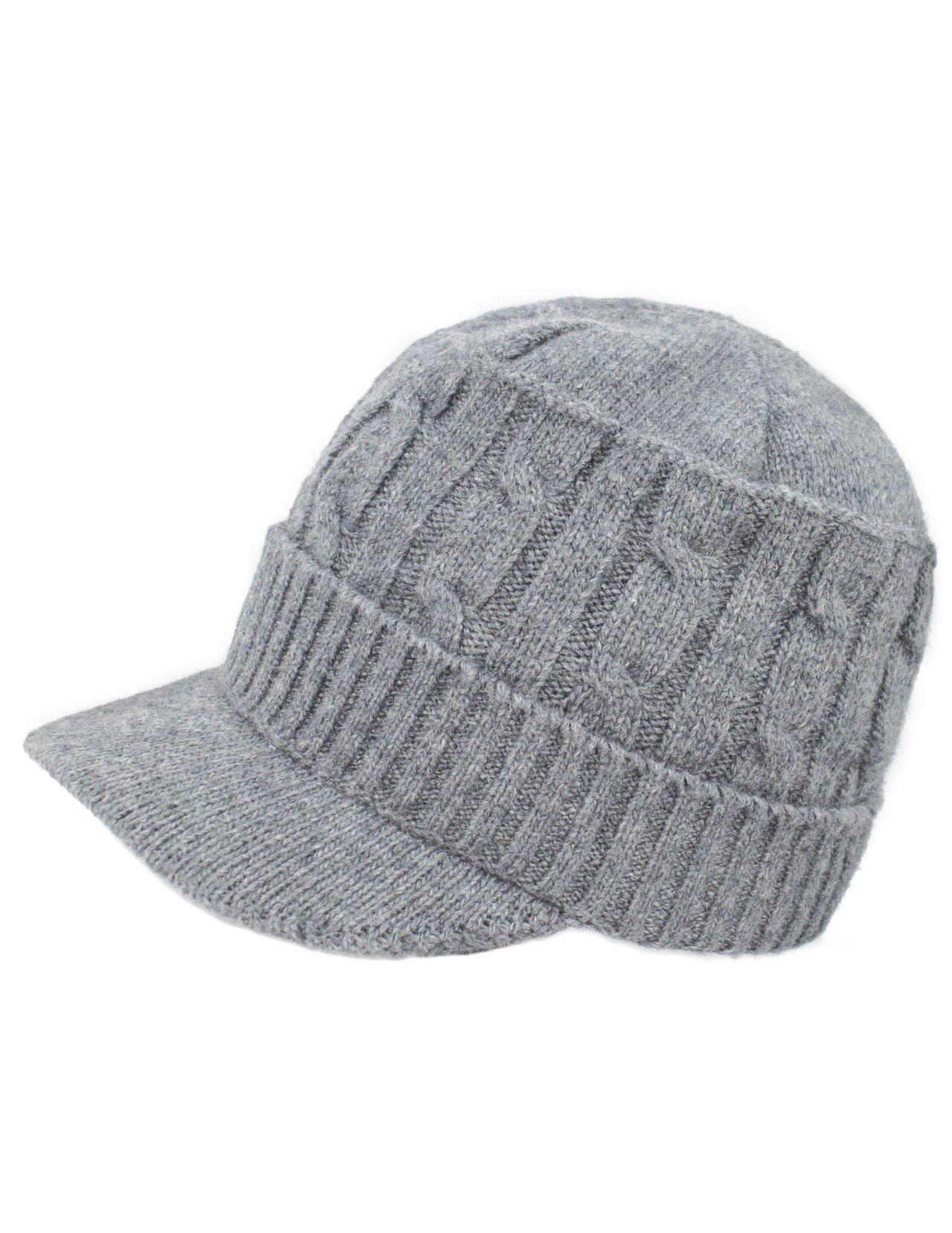 Dahlia Women's Soft & Warm Velour Lined Cable Knit Visor Cap Hat - Light Gray