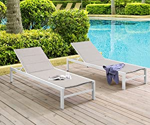 Ulax Furniture Patio Outdoor Aluminum Chaie Lounge Chair Adjustable Recliner with Wheels and Quick Dry Foam (Set of 2, Beige)