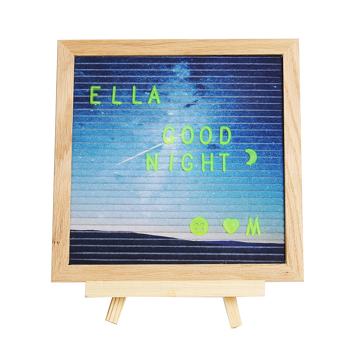 Cusfull 10''x10'' Starry Patterned Felt Letter Board + 340 Luminous Letters + Stand + Scissor + Canvas Bag, Word Board, Marquee Sign, Oak Wood Frame, 1010w Message Board