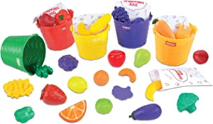 Toy Chef Farmers Market Learning Set, Fruits and Vegetables Color Sorting Play Set with Produce and Matching Color Buckets, Educational Toys for Girls and Boys
