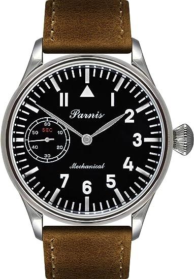 PARNIS 2088 Avión Reloj mecánico con Cuerda Manual Elegante Hombre Reloj de Pulsera Seagull ST36 Marca