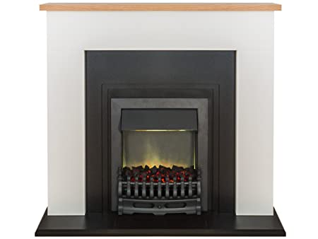 Electrical Fireplaces Adam Malmo Fireplace Suite in Pure White with Blenheim Electric Fire in Black 39 Inch Home & Kitchen