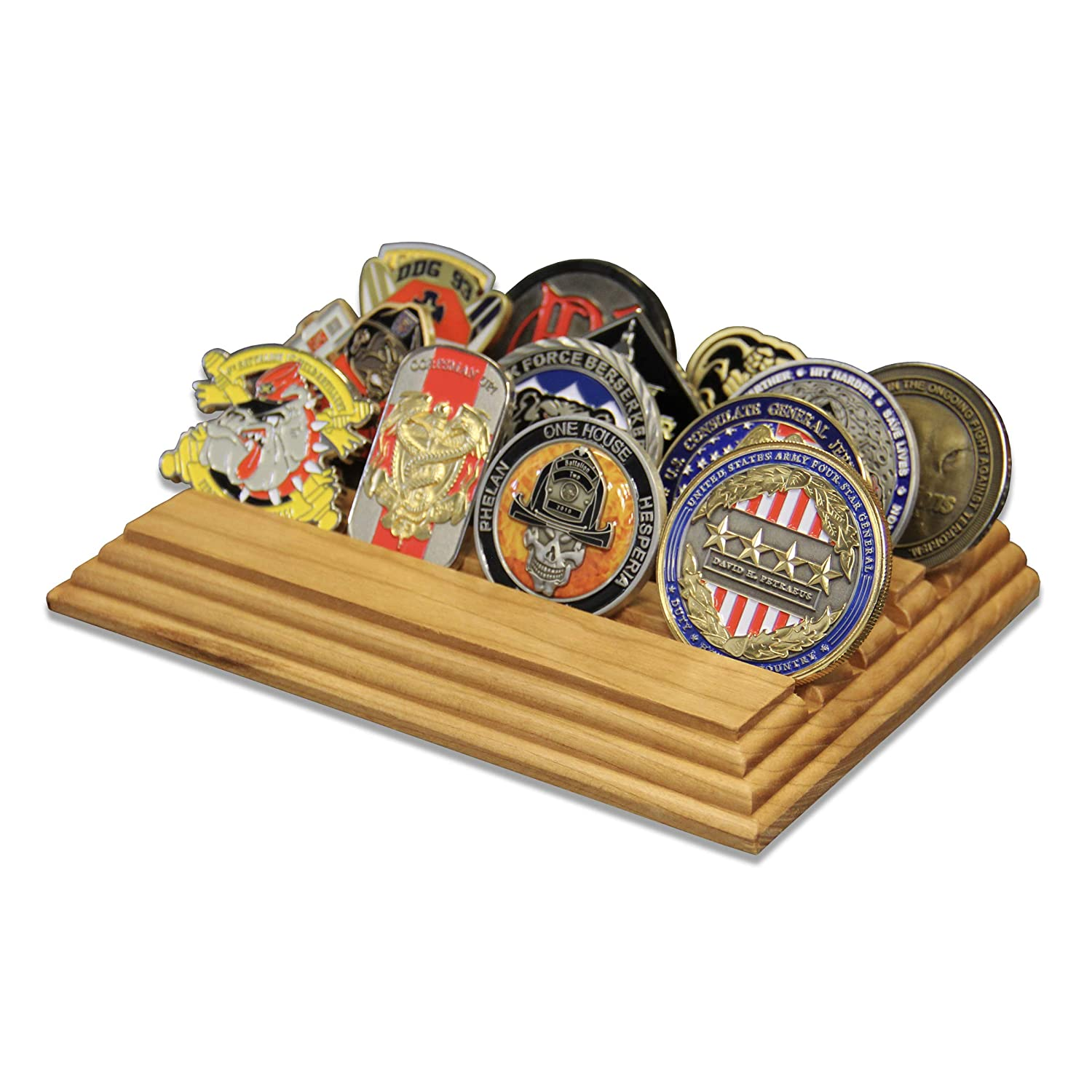 4 Row Challenge Coin Holder Natural Cherry - Military Coin Display Stand -  Amazing Military Challenge Coin Holder - Holds 14-19 Coins 4 Rows Made in