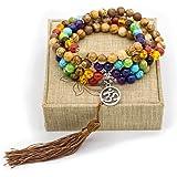 8mm Picture Jasper Stone 108 Buddhist Prayer Beads 7 Chakra Multilayer Mala Beads Om Bracelet Necklace