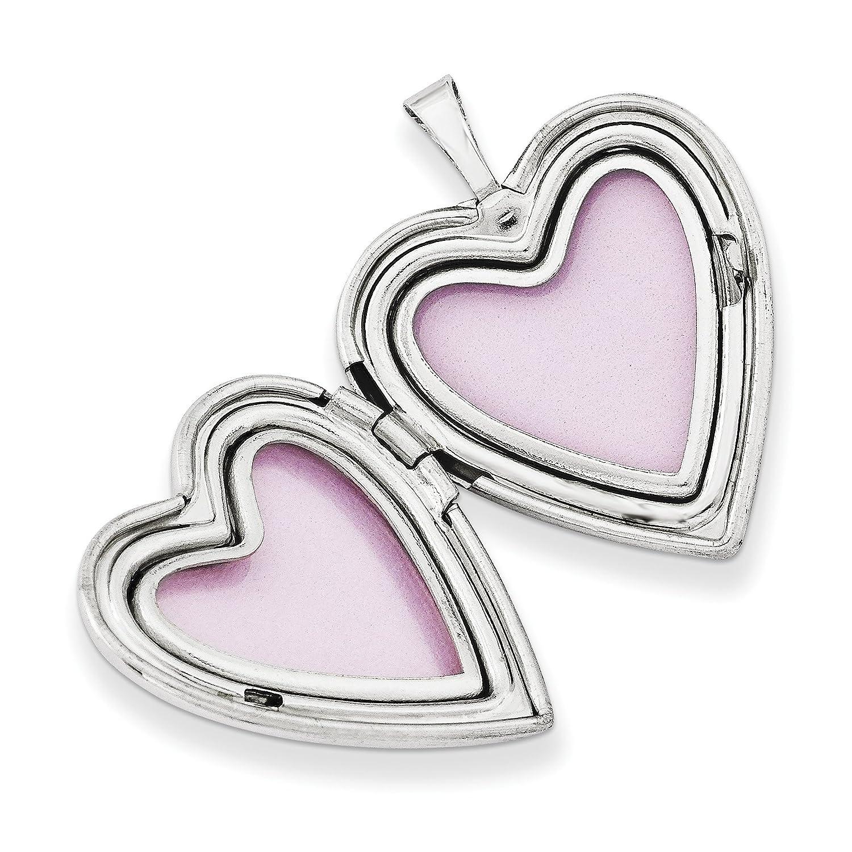 925 Sterling Silver 20mm Swirl Polished Heart Locket Pendant