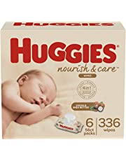 Huggies Nourish & Care Scented Baby Wipes for Sensitive Skin, 6 Flip-Top Packs, 56 Count (336 Wipes Total)