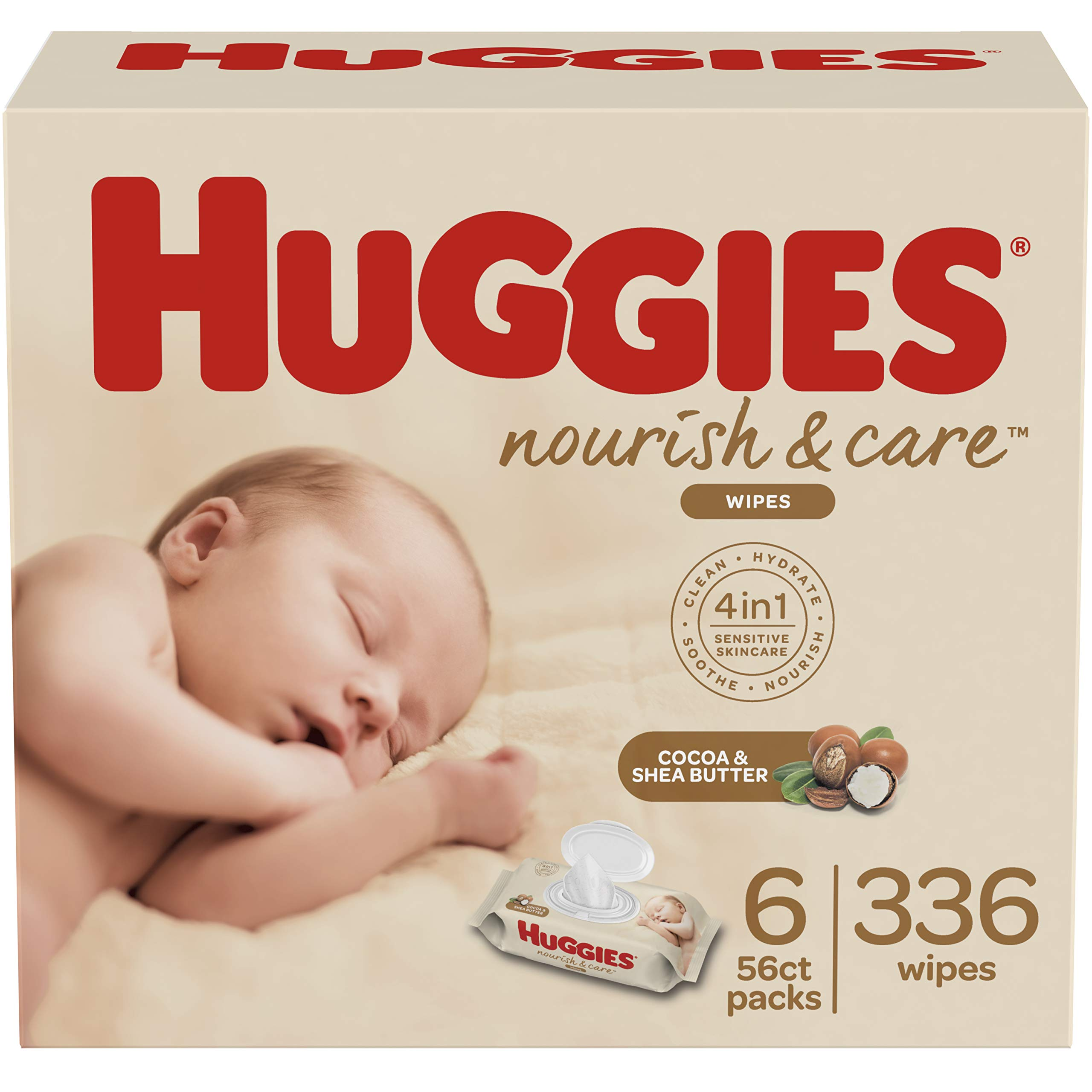 Huggies Nourish & Care Baby Wipes, Sensitive Skincare, Scented, 6 Flip-Top Packs, 56 Count (336 Wipes Total) by HUGGIES