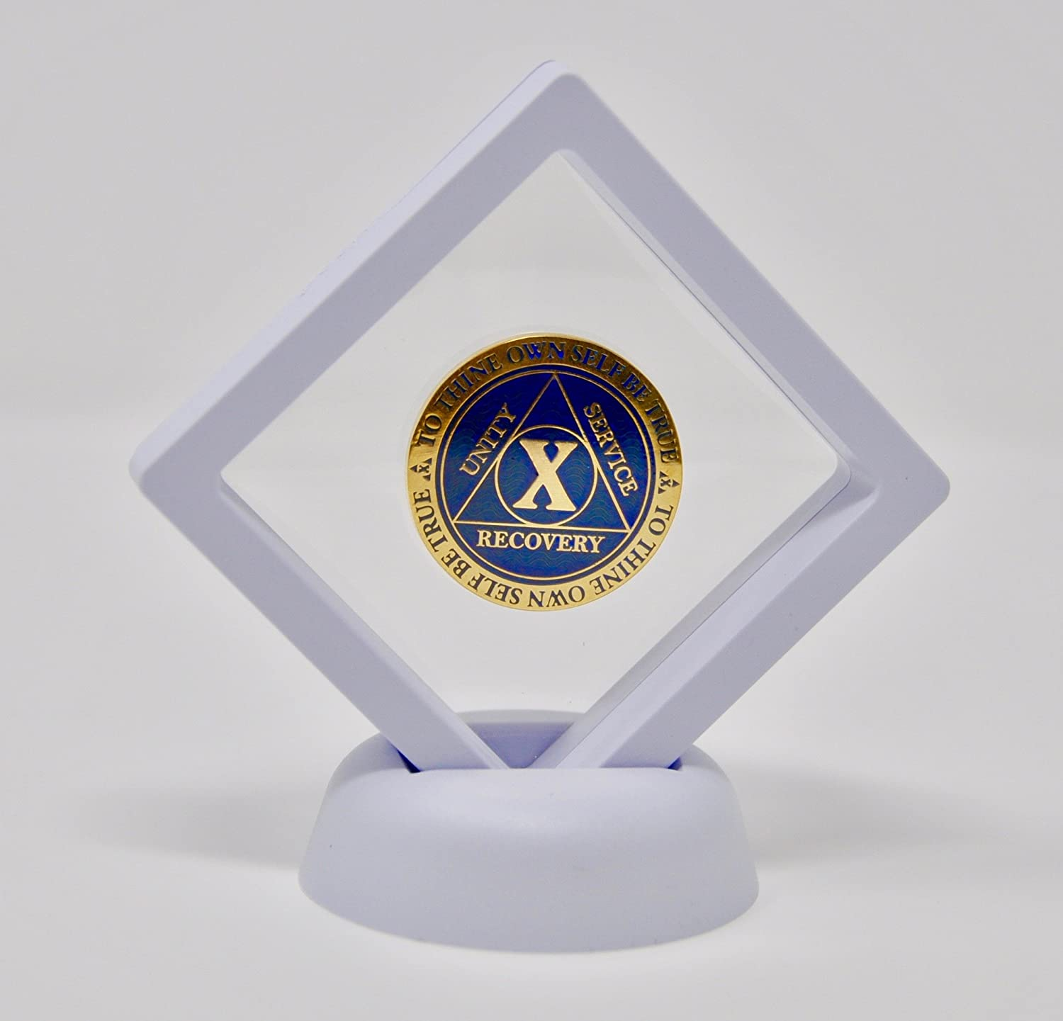 Diamond Square AA Medallion Challenge Coin Chip Display Stand Holder Magic Suspension Box White SM 2.75 in x 2.75 in