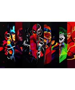 Posterhouzz Comics Superhero Thor Joker Black Panther Ultron Daredevil Deadpool Flash STA. Fine Art Paper Print Poster_** ABO397