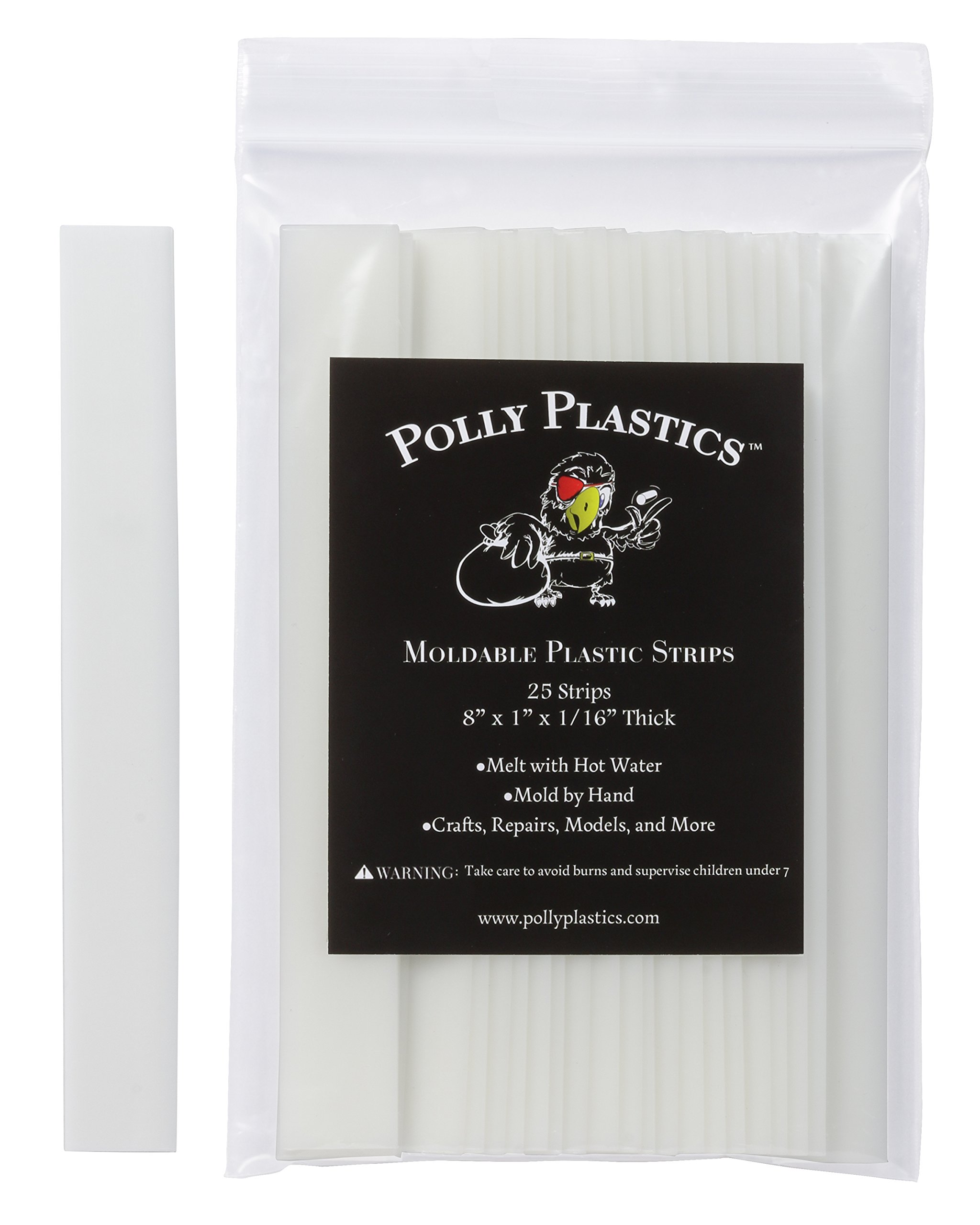 Polly Plastics Heat Moldable Plastic Strips - 25 Strips, 1 x 8 x 1/16 by Polly Plastics