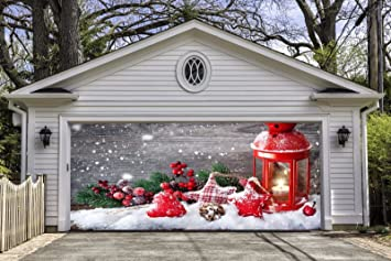 christmas decorations garage door full color covers banners outdoor murals holiday billboard for 2 car garage - Garage Christmas Decorations