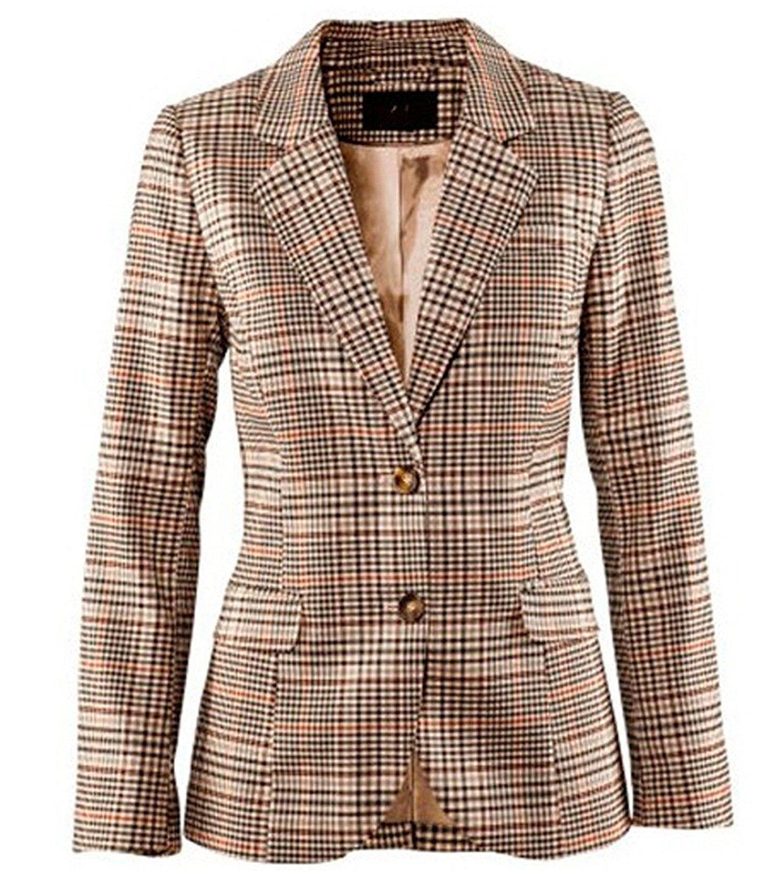 Lokouo Blazer Coat Jacket Women's Juniors Slim Candy Office Blazer Slim Classic Plaid Patch Elbow Suit,Small,PhotoColor
