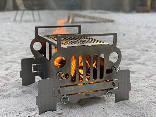 300 Industries SUV Inspired Fire Pit with Stainless Steel Grill Outdoor Compact Fireplace