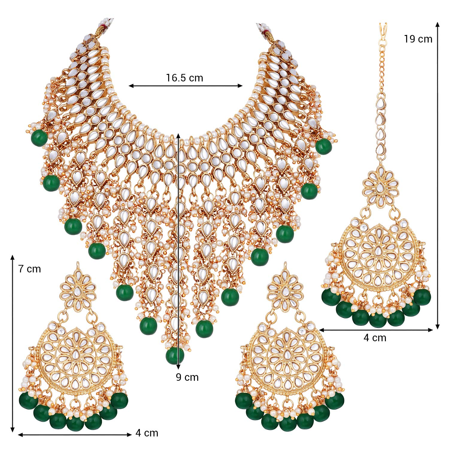 Indian Bollywood Gold Plated Multi Colour Pearl Beads Earring Partywear Jewlery Elegant Shape Hair & Head Jewelry Fashion Jewelry