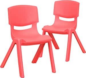 Flash Furniture 2 Pack Red Plastic Stackable School Chair with 12