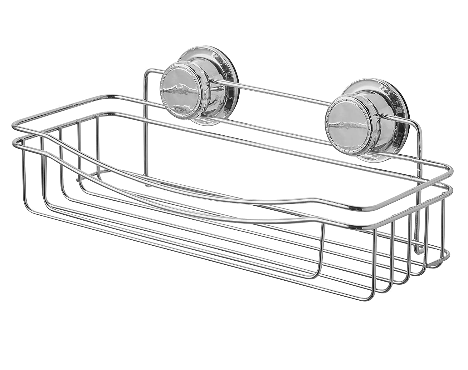 Bathroom Organizer Shelf Extra Strong Suction Cup Curved Front Shower Caddy BM Home Chrome Rust Proof