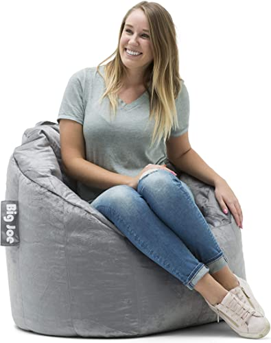 Big Joe Milano Bean Bag Chair, Gray Plush – 32 x 28 x 25