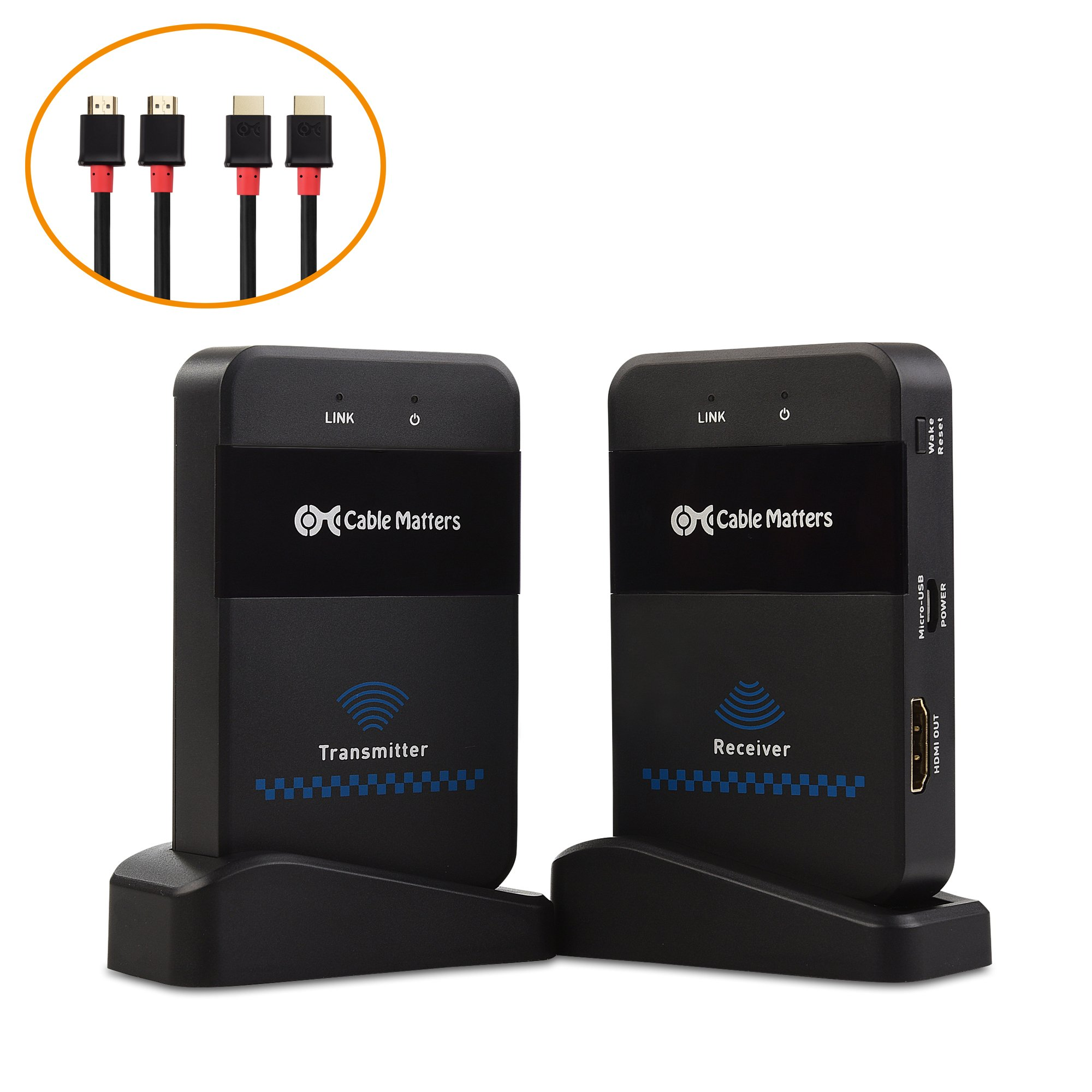 Cable Matters Wireless HDMI Extender with Twin Pack of HDMI Cables