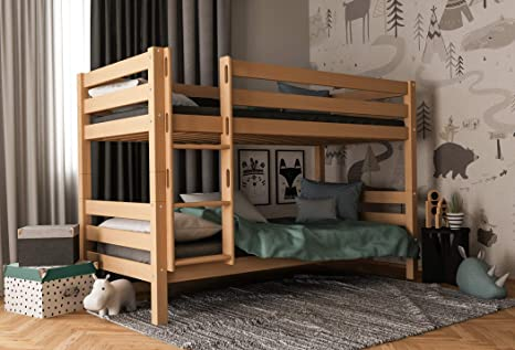 Furnneo Bunk Bed With Slide Or Without Slide In Natural Or White Colour Solid Beech Bunk Bed With Ink Rolling Frame 90 X 200 Cm Separable Amazon De Kuche Haushalt