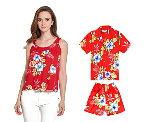 9b71dc0b695f7 Maillot et Tenue de Costume de Hawaiian Luau de mère de Fils Assortis en  Rouge d hibiscus  Amazon.fr  Vêtements et accessoires