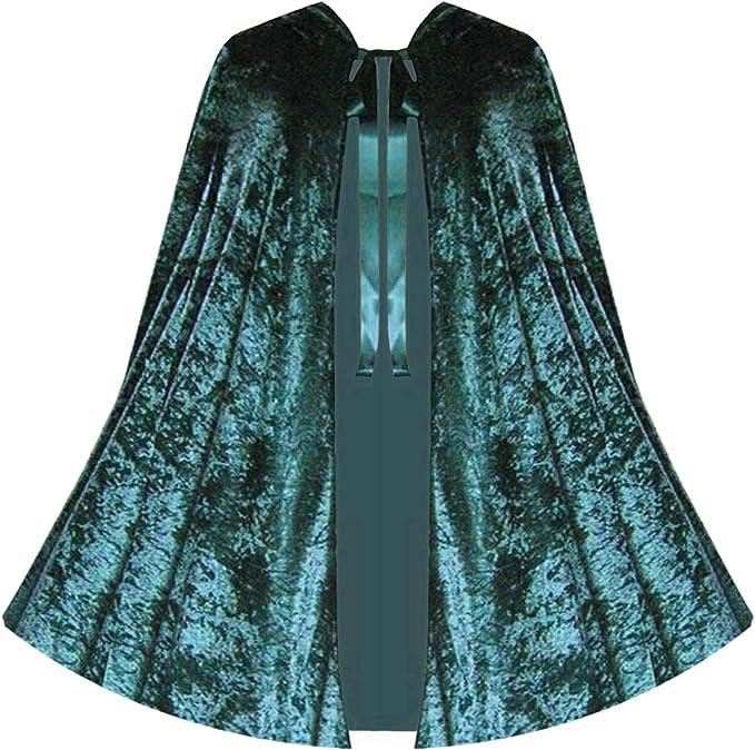 Black Velvet Cloak Lined Cape Men Hooded XL Victorian Renfaire Capelet Medieval