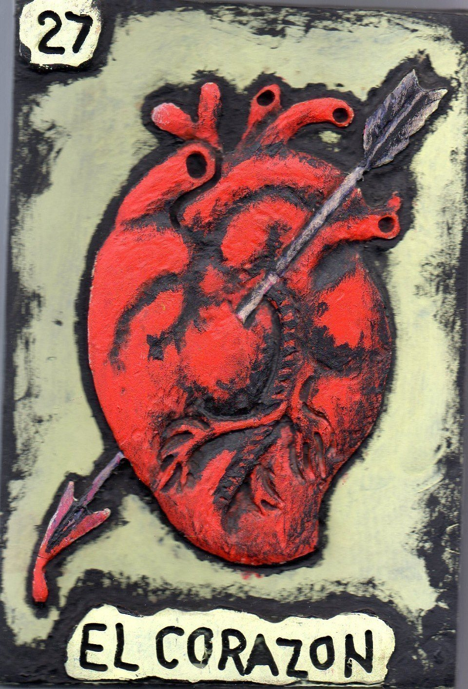 Mexican Loteria, Carved and Painted Wooden Wall Art, El Corazon (#27), Handmade Wall Relief Sculpture, measure: approx. 8 X 11'' Made to Order (Allow 1- 4 weeks for production & delivery) by Sanchezz Wood Art
