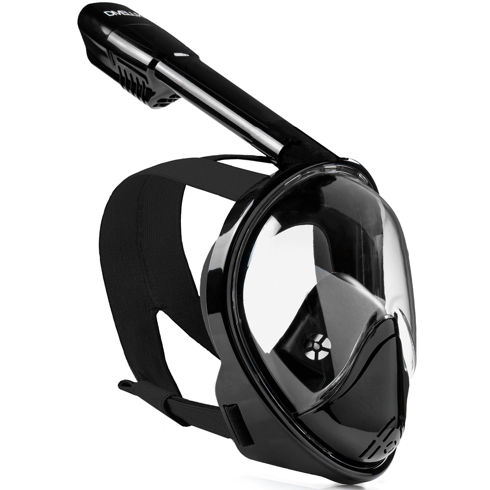 DIVELUX Snorkel Mask - Original Full Face Snorkeling and Diving Mask with 180° Panoramic Viewing - Longer Ventilation Pipe, Watertight, Anti Fog & Anti Leak Technology, (Black, S/M)