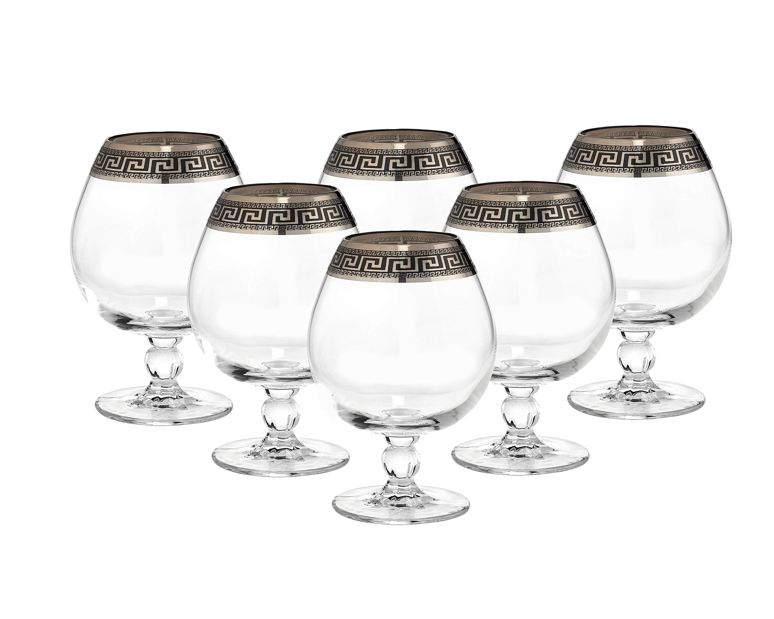 ''Cristalleria Italian Decor'' Crystal Cognac Brandy Snifter Goblet, 17 oz. Silver Platinum Greek Key Ornament, Hand Made in Italy, SET OF 6 Glasses by Cristalleria Italian Decor