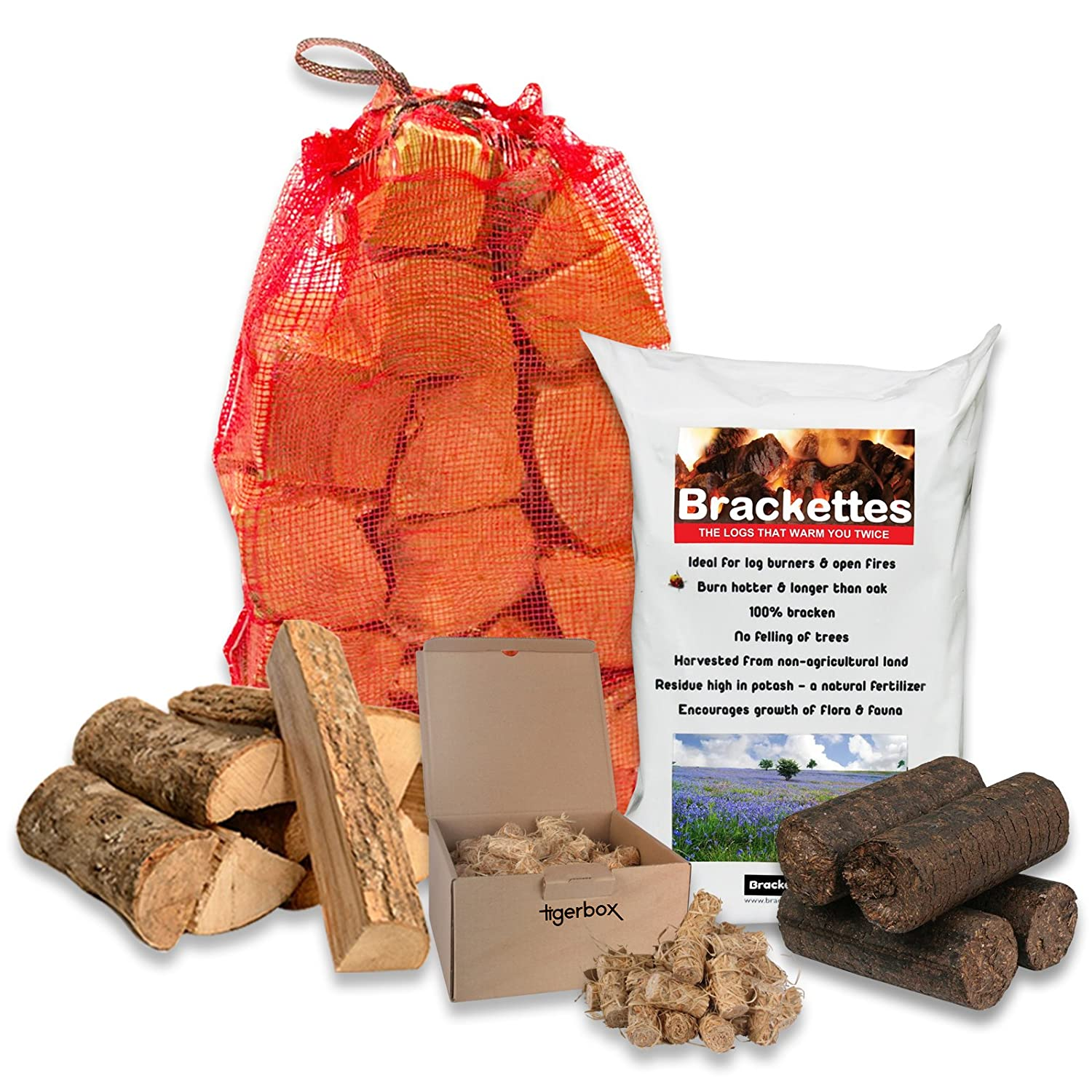 10 Brackenburn Brackettes Extra Hot Solid Fuel Bracken Logs, 15KG of Kiln Dried Hardwood, Natural Wood Wool Eco Firelighters & Tigerbox Safety Matches.