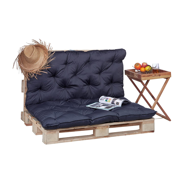 Relaxdays 10023472_53 Cuscino per Pallet da Giardino, Imbottitura per Bancali, Pedane, Trapuntato con Schienale, Verde